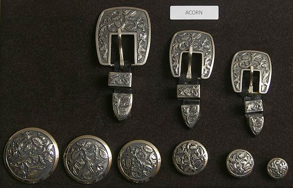 Acorn Antique Plated Silver Conchos and Buckles