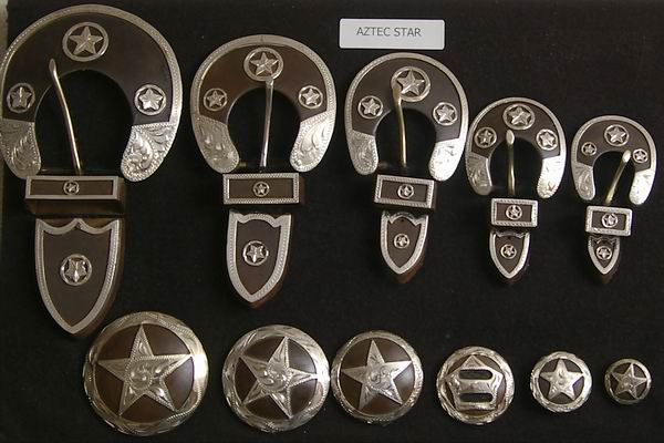Aztec Star Rusted Steel Conchos and Buckles