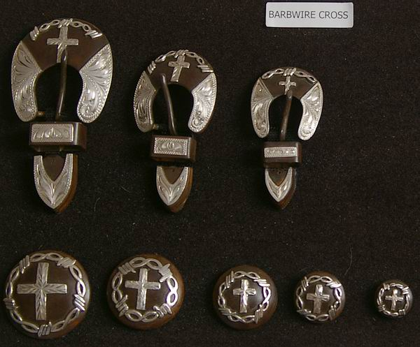 Barbwire Cross Rusted Steel Conchos and Buckles