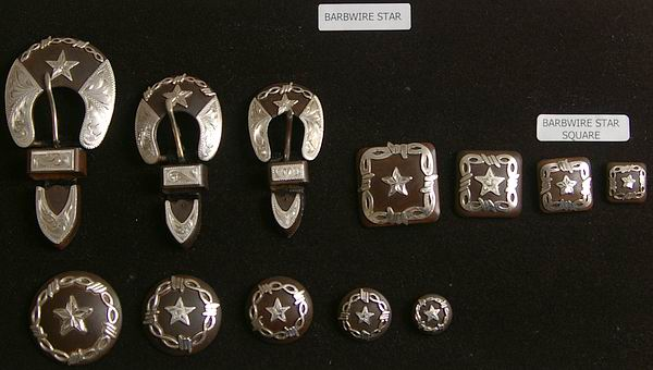 Barbwire Star Rusted Steel Conchos and Buckles