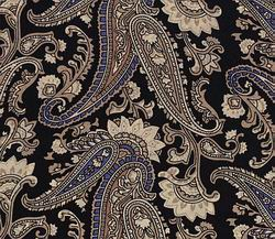 Cowboy Images Black Tan Paisley