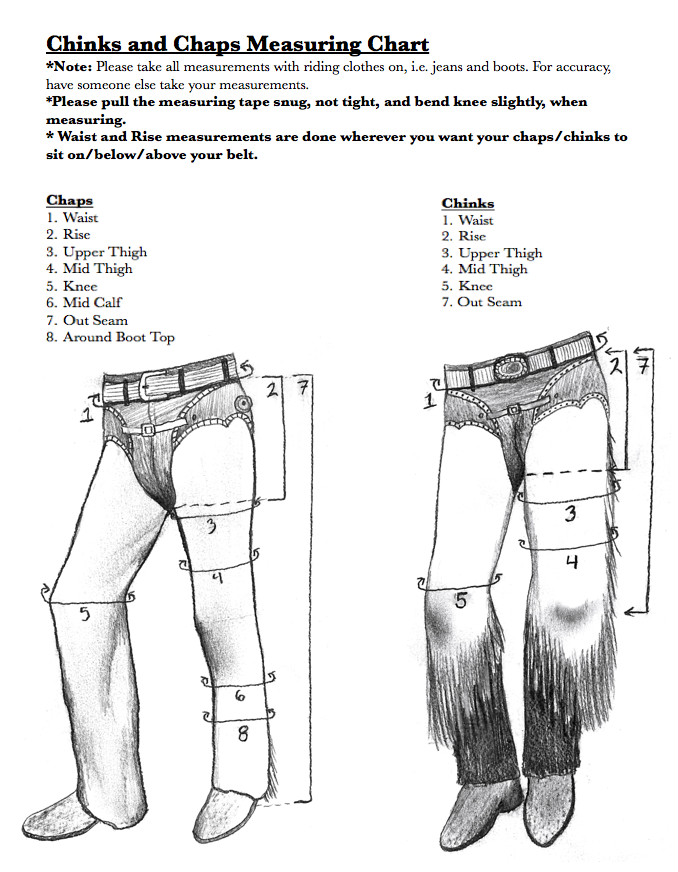 How to measure for custom chaps chinks
