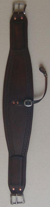 "6"" oval roper leather back cinch"