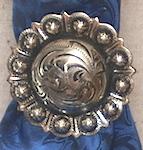 Antique silver concho scarf slides
