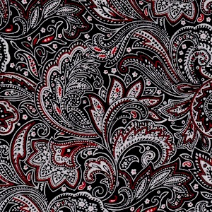 Austin Accents Black White Red Paisley 100% Silk Scarf