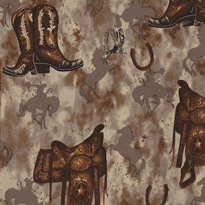Austin Accents Saddle and Horses Brown 100% Silk Scarf