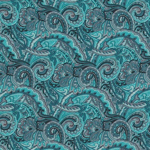 Austin Accents Turquoise Paisley 100% Silk Scarf