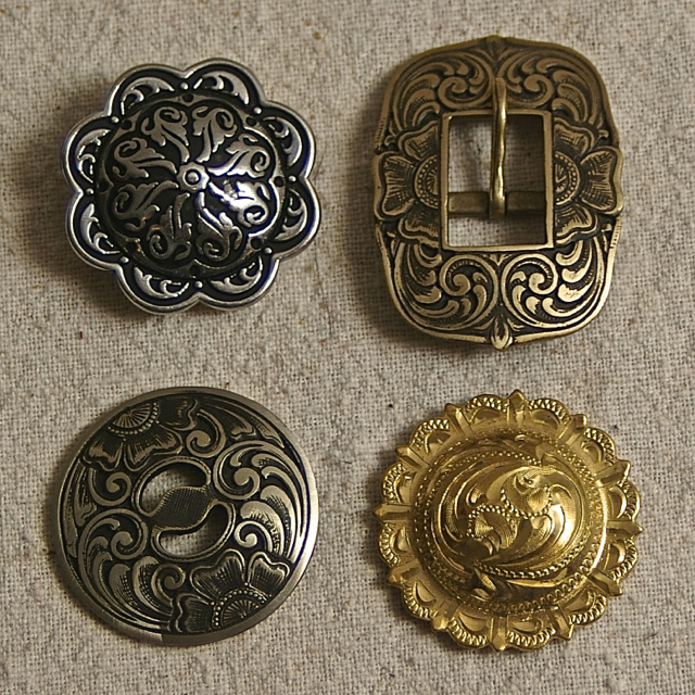 Brass Bronze and Stainless Conchos and Buckles