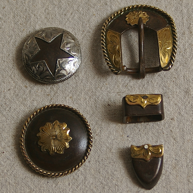 Rusted Steel Conchos and Buckles