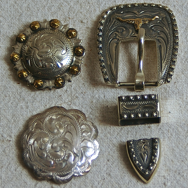 Silver Conchos and Buckles Antiqued or Plain