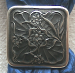 Jeremiah Watt Single Flower Square Antique Bronze Scarf Slide