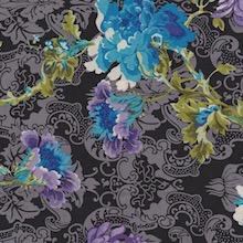 Cowboy Images Jacquard Rose Blue on Black