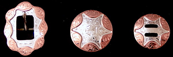 Out West Saddlery Columbine Concho Custom Silver Copper