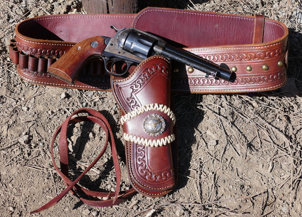 Out West Saddlery Gun Belt, Holster & Ruger Vaquero .45 Single Action Revolver