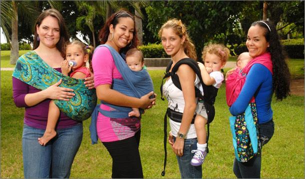 baby-wearing x 4