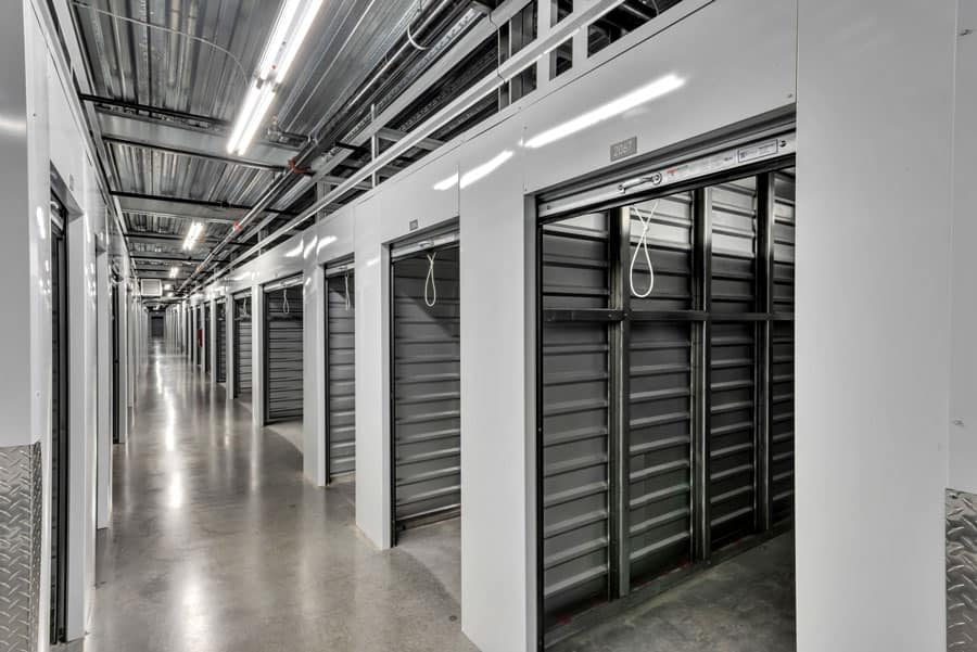 Hall of new storage units with the doors open