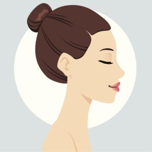 Portrait illustration of beautiful woman head with hair bun hairstyle.