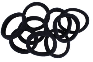 Black scrunchies isolated on white background with clipping path