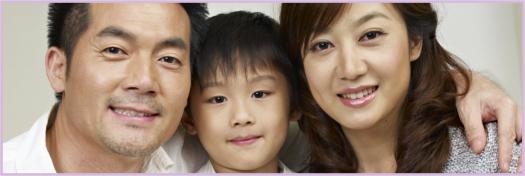 portrait of an asian family of three.