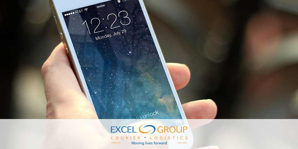 image of iPhone with Excel Courier mobile app
