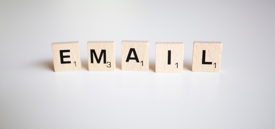 Email in Scrabble letters
