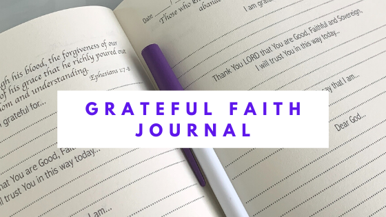 Grateful Faith Journal image of page and link to purchase a copy