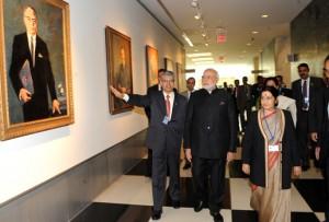 PM Modi and Minister Sushma Swaraj at UN headquarters