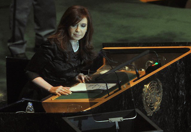 """Photo of Argentine president main speaker at Falklands war ceremony and enshrinement of """"Our Lady of Malvinas"""""""