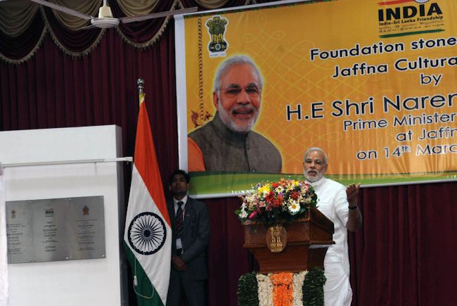 Prime Minister Narendra Modi speaks at the Foundation Stone laying of Jaffna Cultural Center during his visit to Sri Lanka (Photo: Courtesy of WikiCommons)
