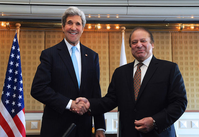 U.S. Secretary of State John Kerry and Pakistani Prime Minister Nawaz Sharif shake hands before beginning a bilateral meeting on the margins of the Nuclear Security Summit at The Hague, the Netherlands, on March 24, 2014. (Photo: Courtesy of U.S. State Department/WikiCommons)
