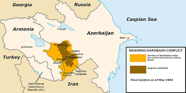 Map of the region depicting the territories under Armenian military control. (Photo: Courtesy of WikiCommons)