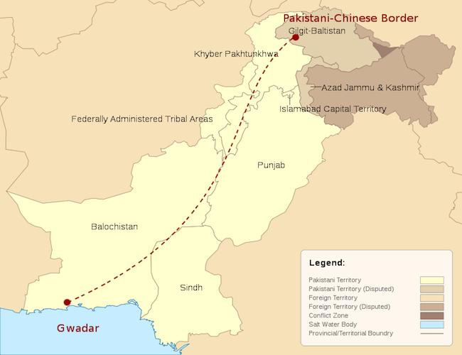 Map of China-Pakistan Economic Corridor. (Photo: Courtesy of WikiCommons)