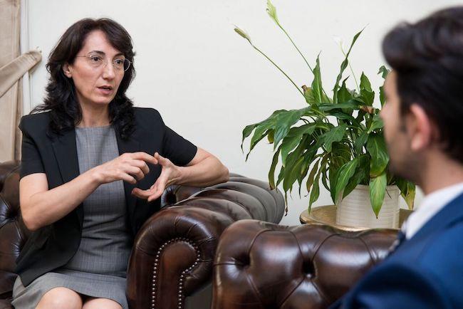 Photo of Ambassador Demireron status of women, health, and economics