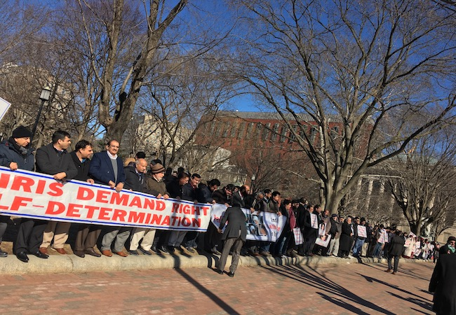 Photo of Kashmiri Americans demonstrate near the White House to call for freedom and justice in Kashmir