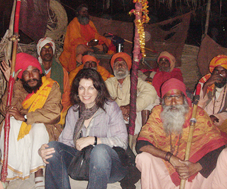 Chai with holy men on the banks of the Ganges at Varanasi
