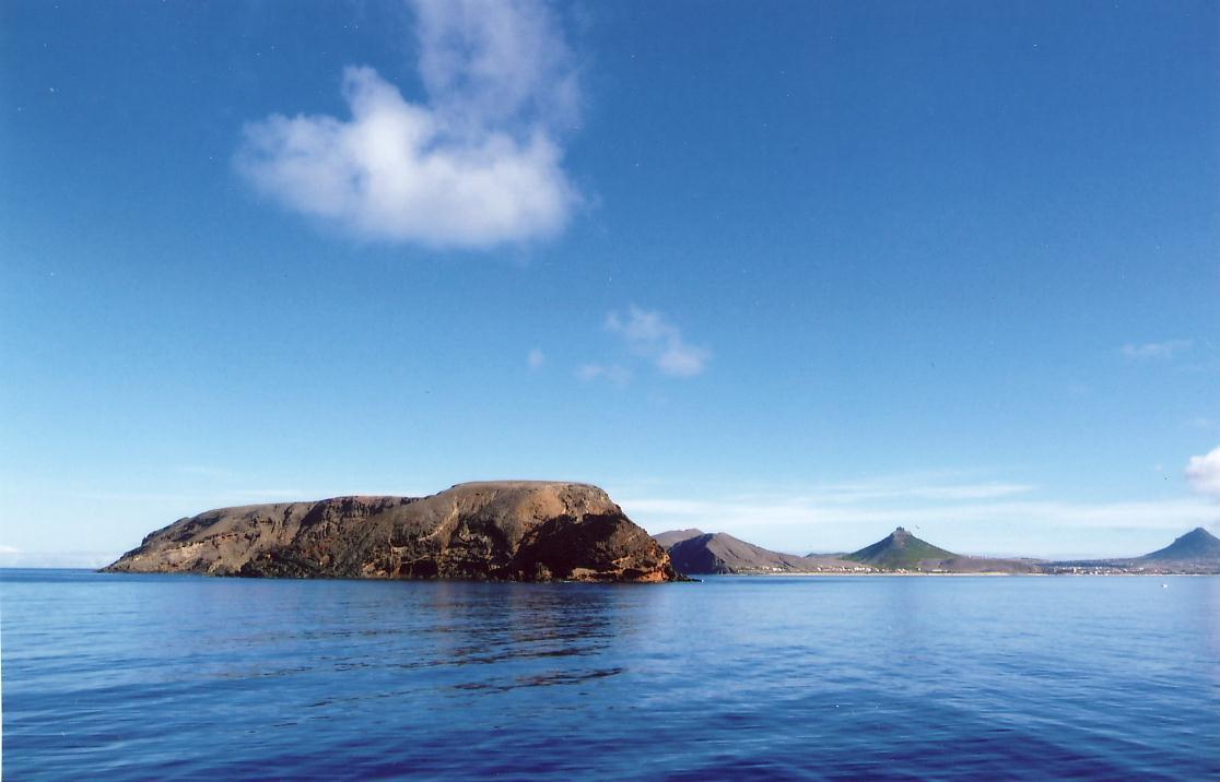 First sighting of the island of Porto Santo in the Madeira Archipelago