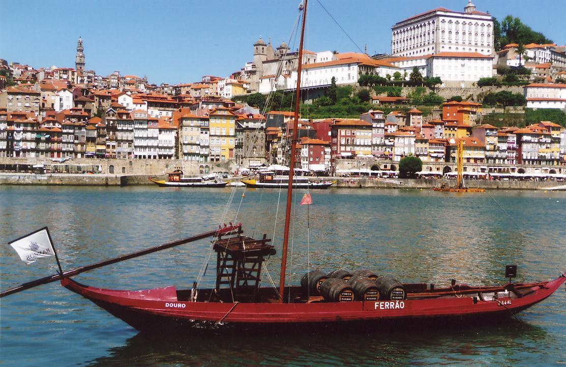 """Barco rabelo"" in Porto, on mainland Portugal. A traditional boat used to ferry port wine down the Douro River"