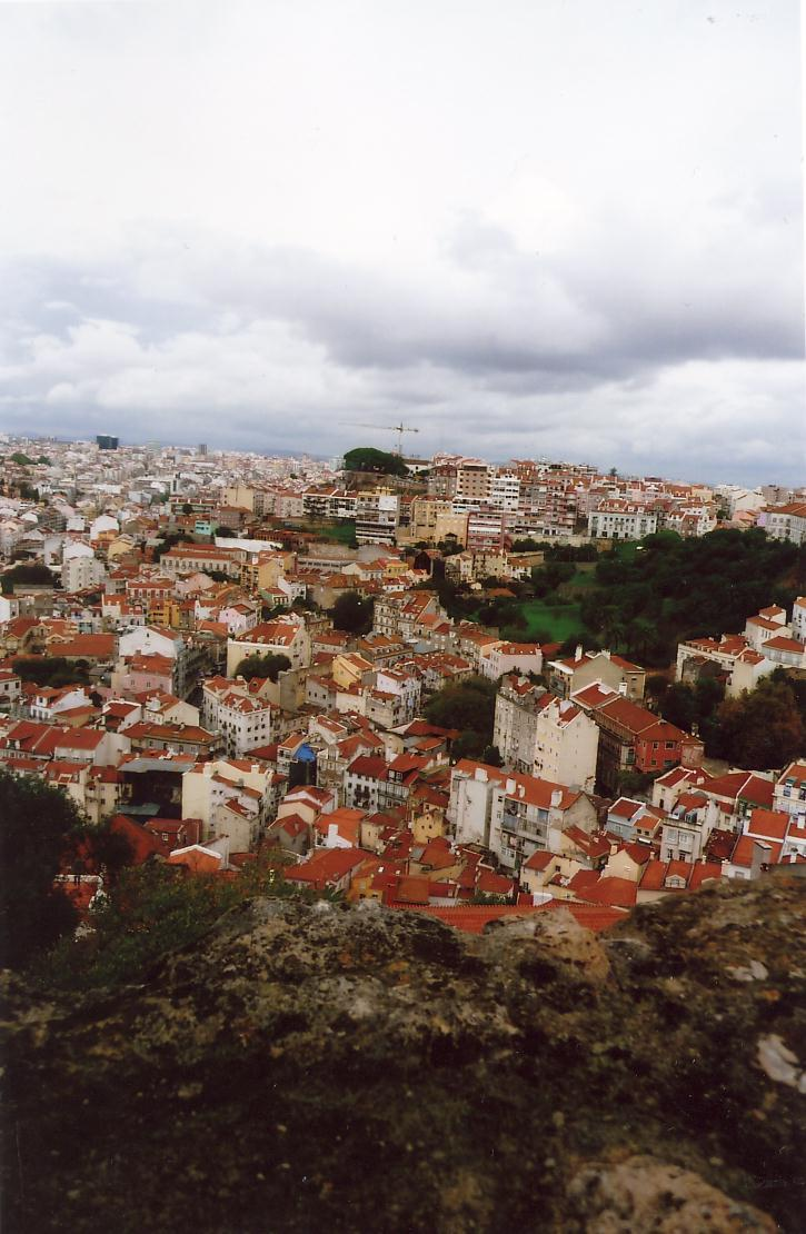 View of Lisbon from high above at Castelo de Sao Jorge