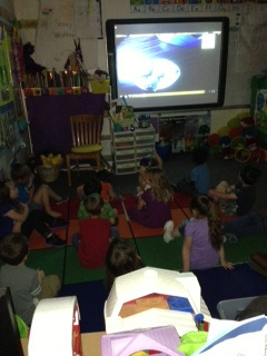 Kids Watching Screen from Document Camera Photo