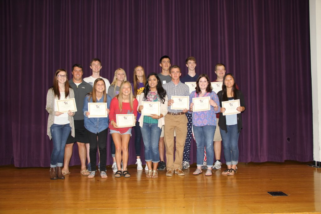 Front row L to R: Recie Ingraham, Brandi Little, Jacy Andrews, Shree Patel, Henry Touchton, Mattie Hill, Elizabeth Brown Back Row L to R: Cooper Hedge,, Russell Dickerson, Peyton Sanders, Kinsey Christian, Cole Widder, Kylen Williams, Nathan Scevers