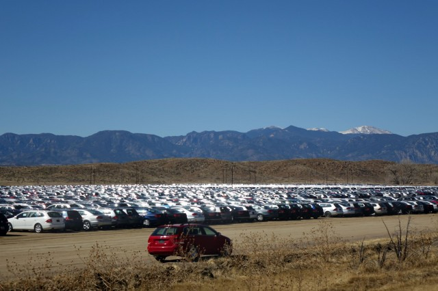 Volkswagen turbodiesels await their fate near Pikes Peak International Raceway in Colorado Springs