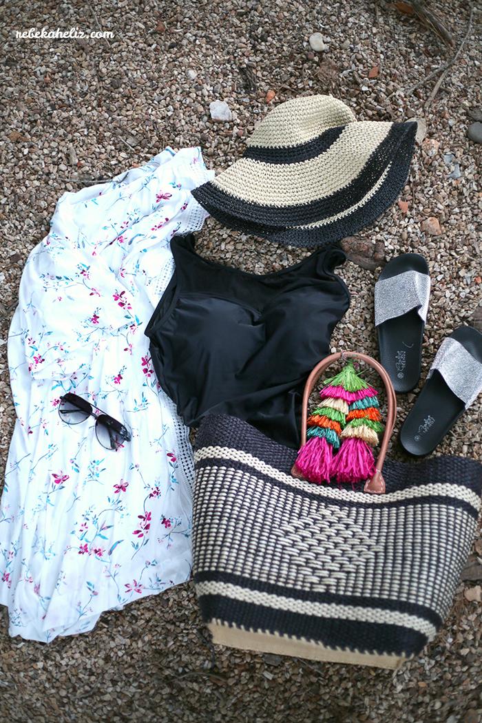 gordmans, got it at gordmans, beach style, pool style, beach, pool, pool hat, beach hat, coverup, sunnies, quay