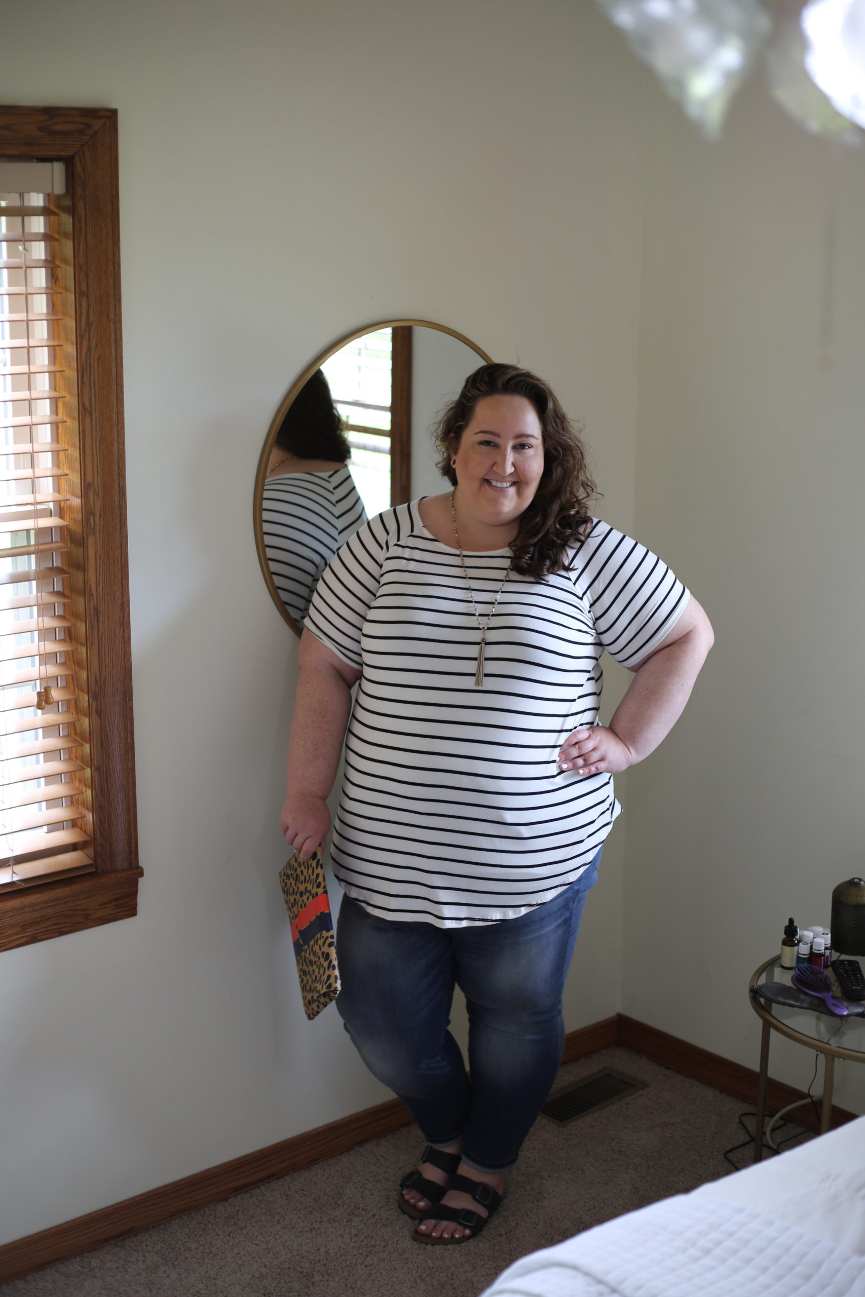 plus size style, striped tunic, jeans, Birkenstocks, the wandering willow boutique