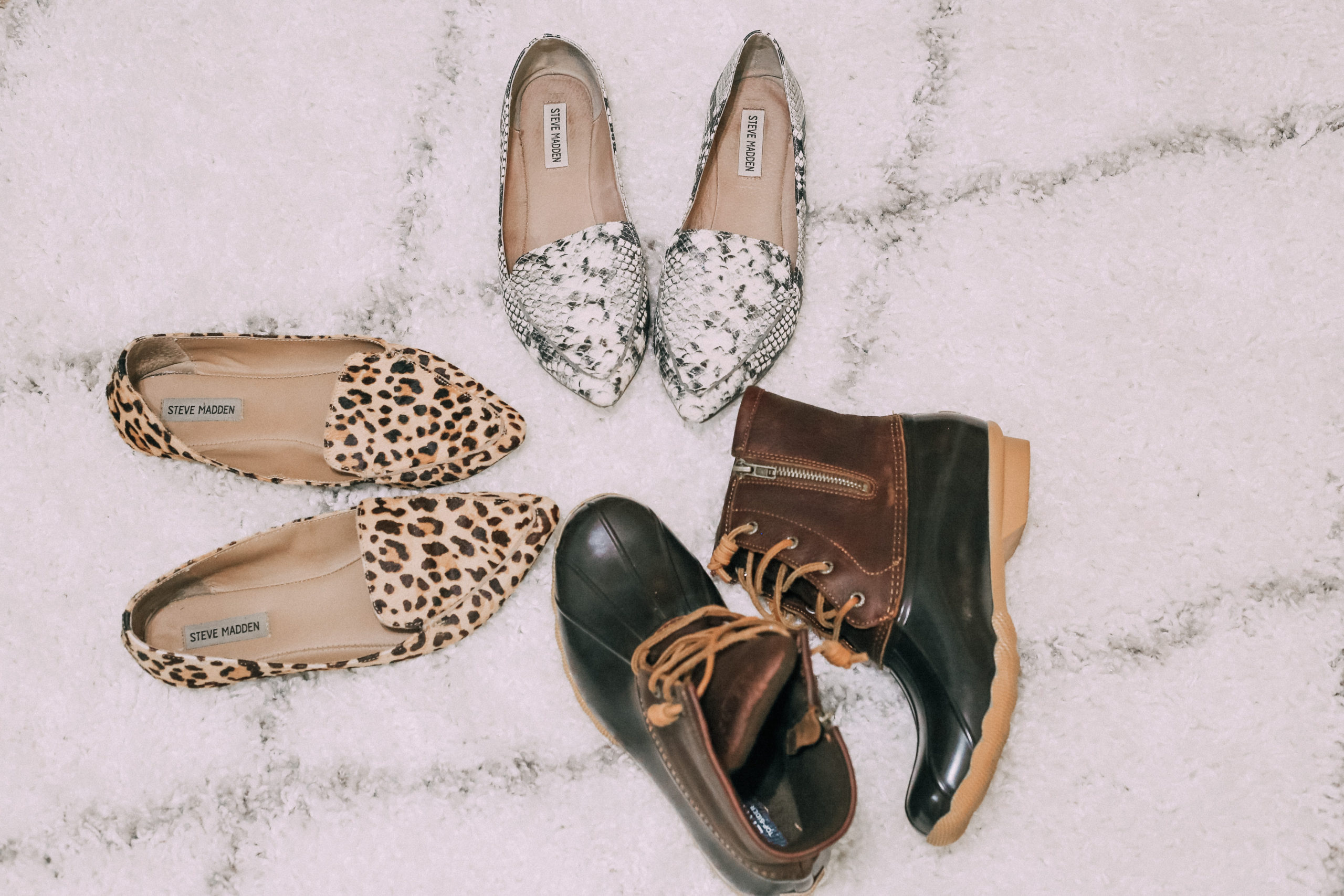 Nordstrom Sale shoes, leopard flats, snakeskin flats, snow boots, rain boots, sperry boots, sperry, Steve madden