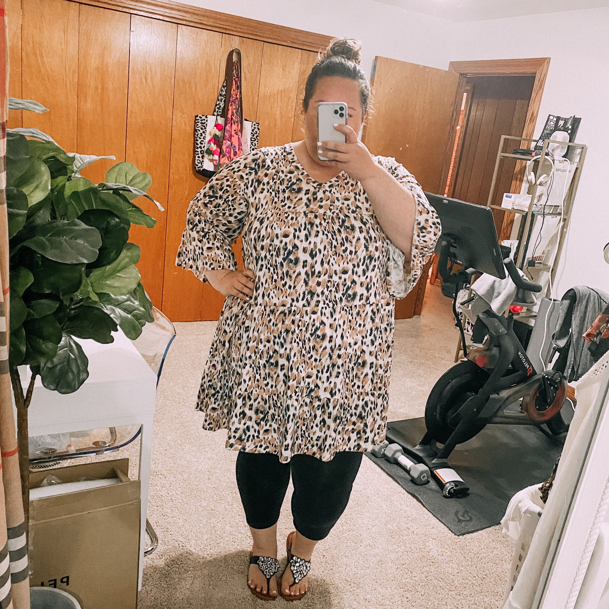 leopard tunic, black leggings, curvy style, plus size style