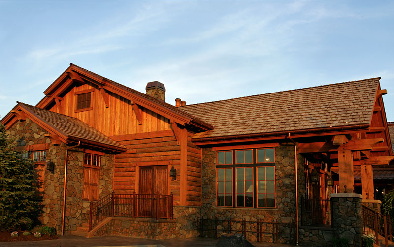 rustic log and stone clubhouse
