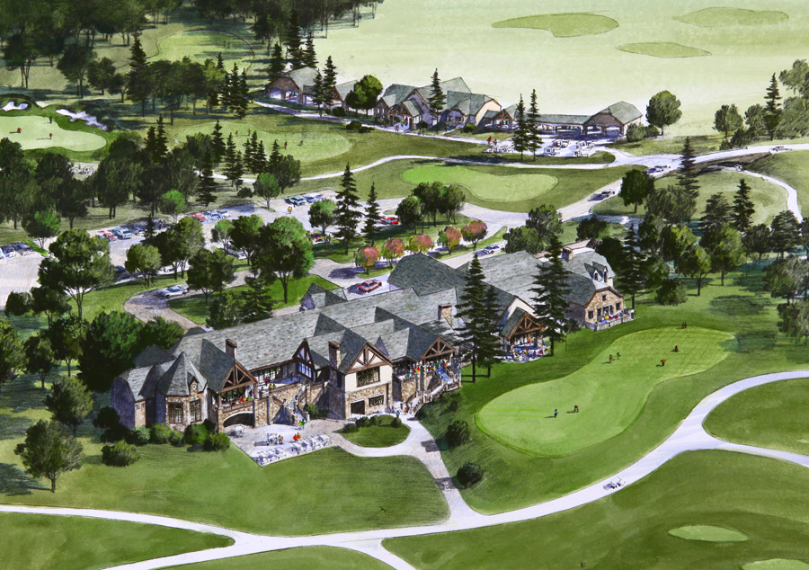 country club architecture design and golf training facility