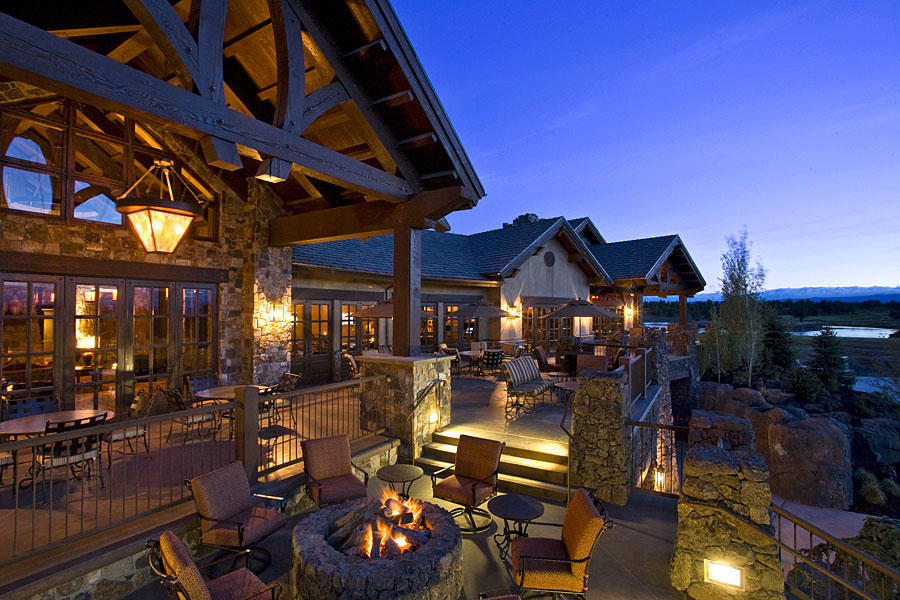 private golf clubhouse fire pit terrace