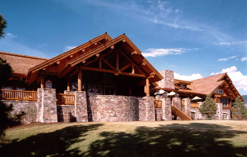rustic log golf clubhouse