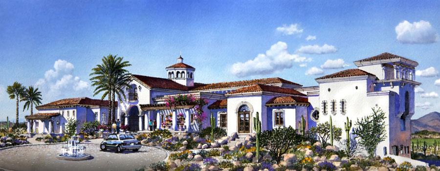 spanish mediterranean golf clubhouse